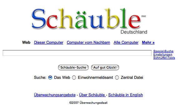 Screenshot einer Schäuble-Suchmaschine