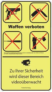 Waffenverbotsschild aus Hamburg