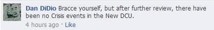 Nachricht von Dan Didio auf Facebook