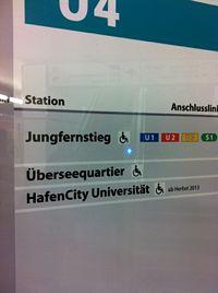 Fahrplan für die U4 mit zwei Stationen