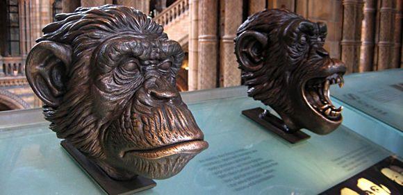 Bronzeskulpturen von zwei Affenköpfen